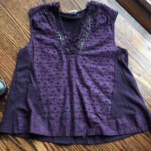 Anthropologie summer top in plum color